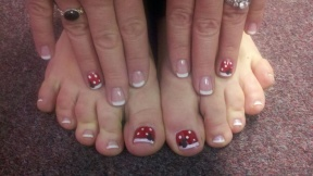 Just a hint of polka dots and Mickey with the ever fashionable French Manicure!