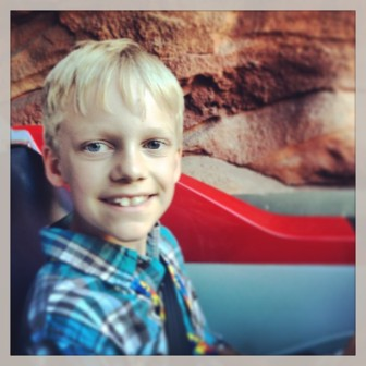 This is the kiddo who had a meltdown about Radiator Racers the day before. Once on, he couldn't wait to go again!