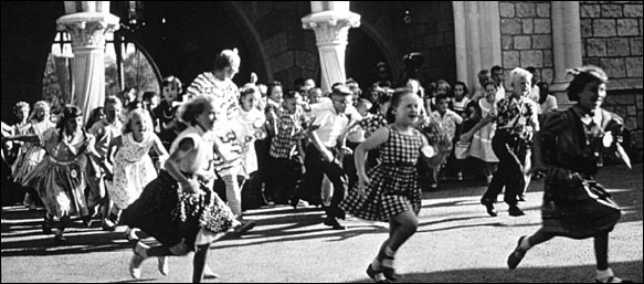 Children attend opening of Disneyland in 1955